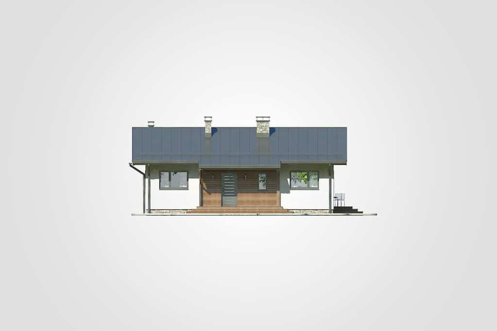 Фасад одноэтажного дома с террасой «КО-99» - спереди