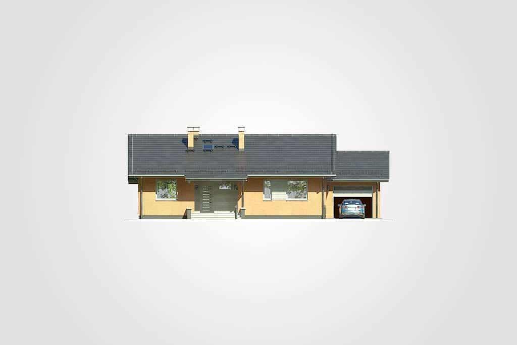 Фасад одноэтажного дома с гаражом и террасой «КО-100» - спереди