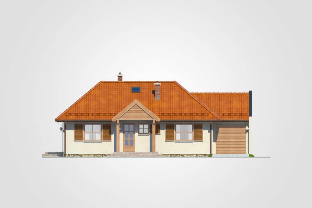 Фасад одноэтажного дома с гаражом и террасой «КО-101» - спереди