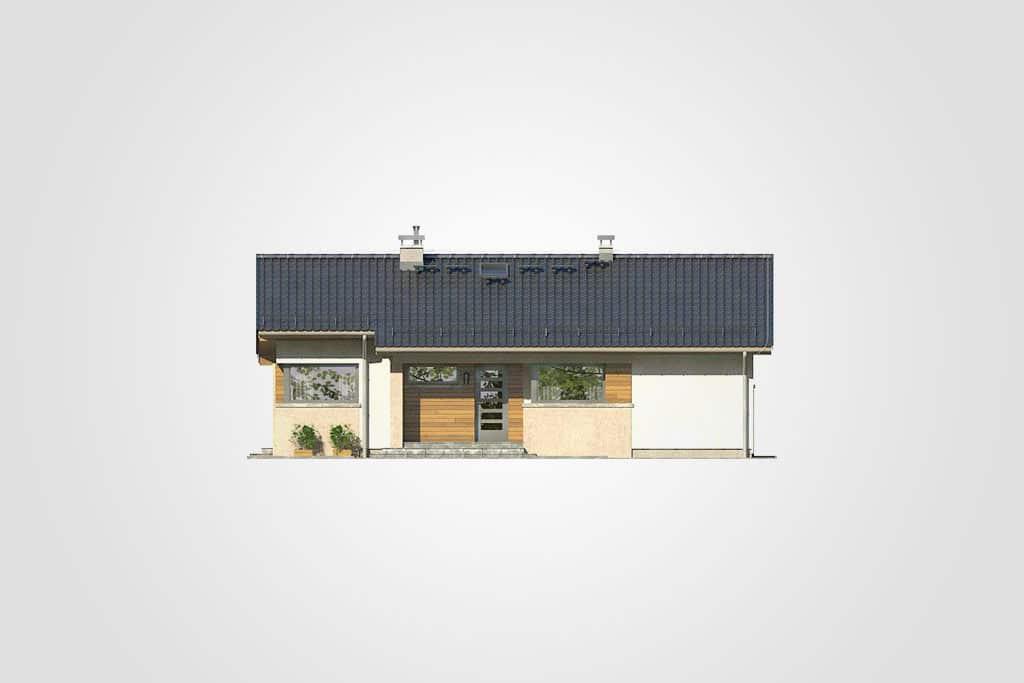 Фасад одноэтажного дома с террасой «КО-102» - спереди