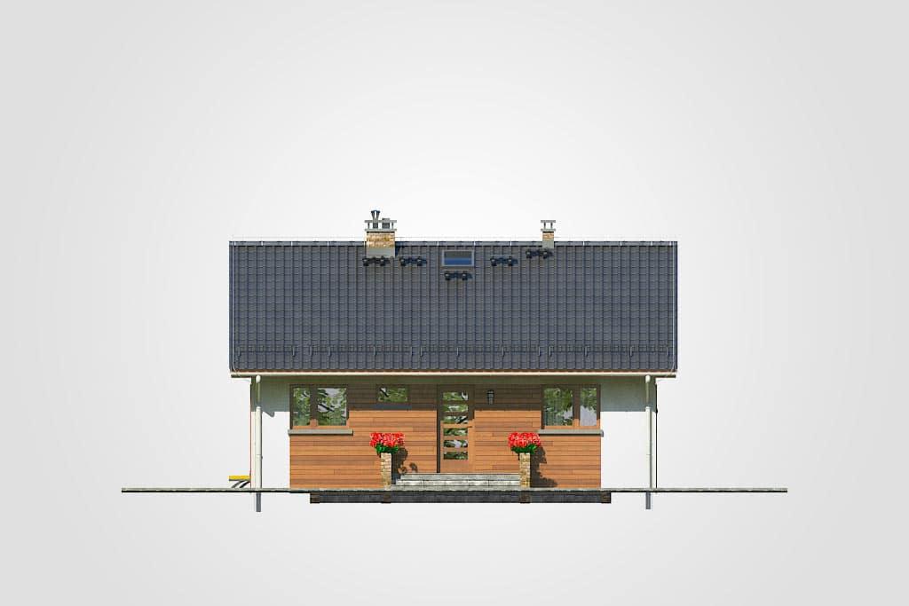 Фасад одноэтажного дома с террасой «КО-105» - спереди