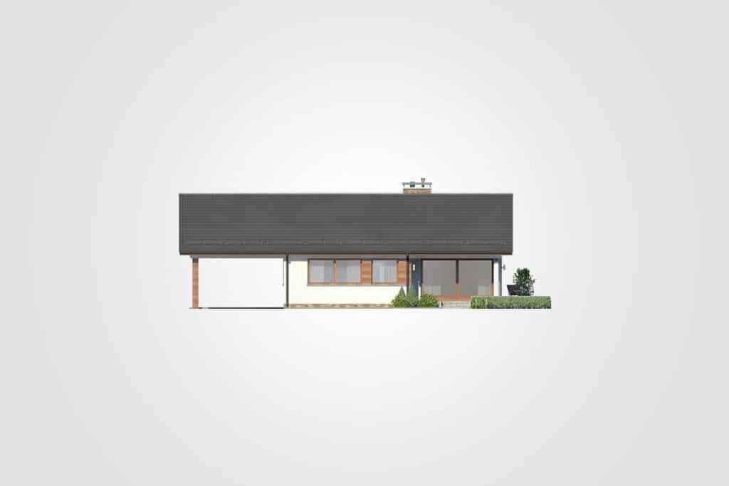 Фасад одноэтажного дома с гаражом и террасой «КО-108» - спереди