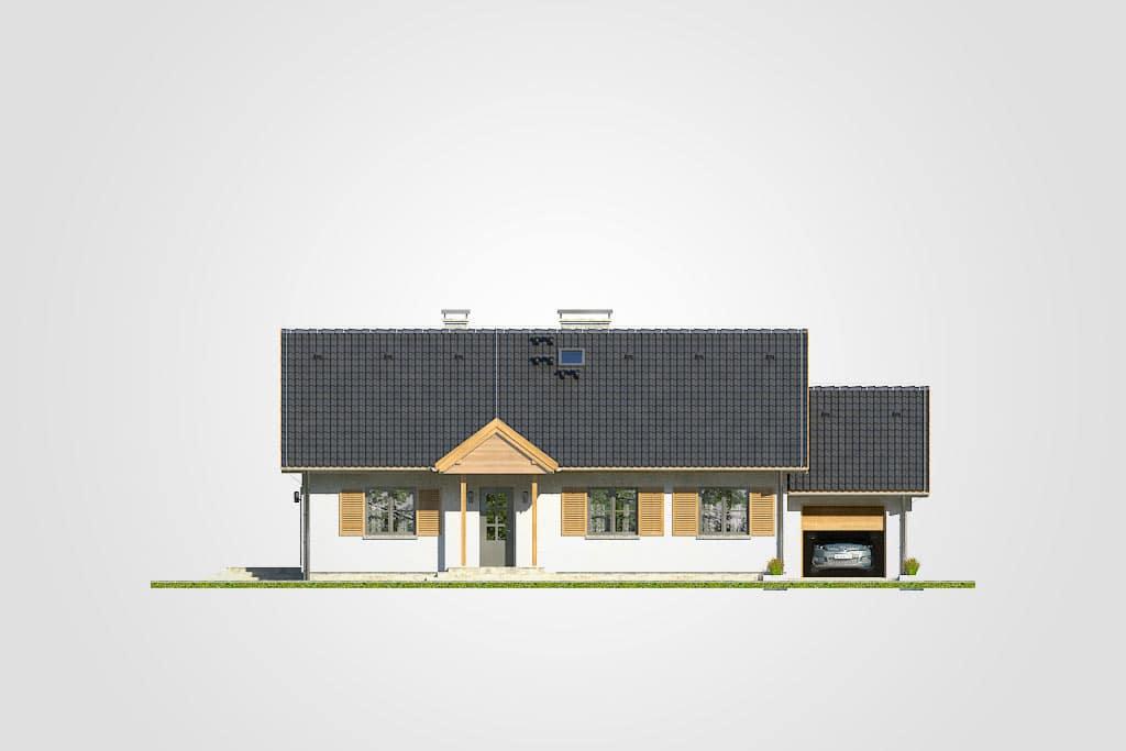 Фасад одноэтажного дома с террасой и гаражом «КО-112» - спереди