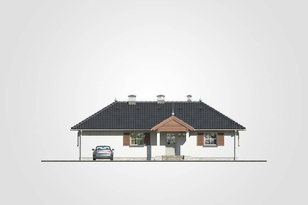 Фасад одноэтажного дома с террасой «КО-114» - спереди