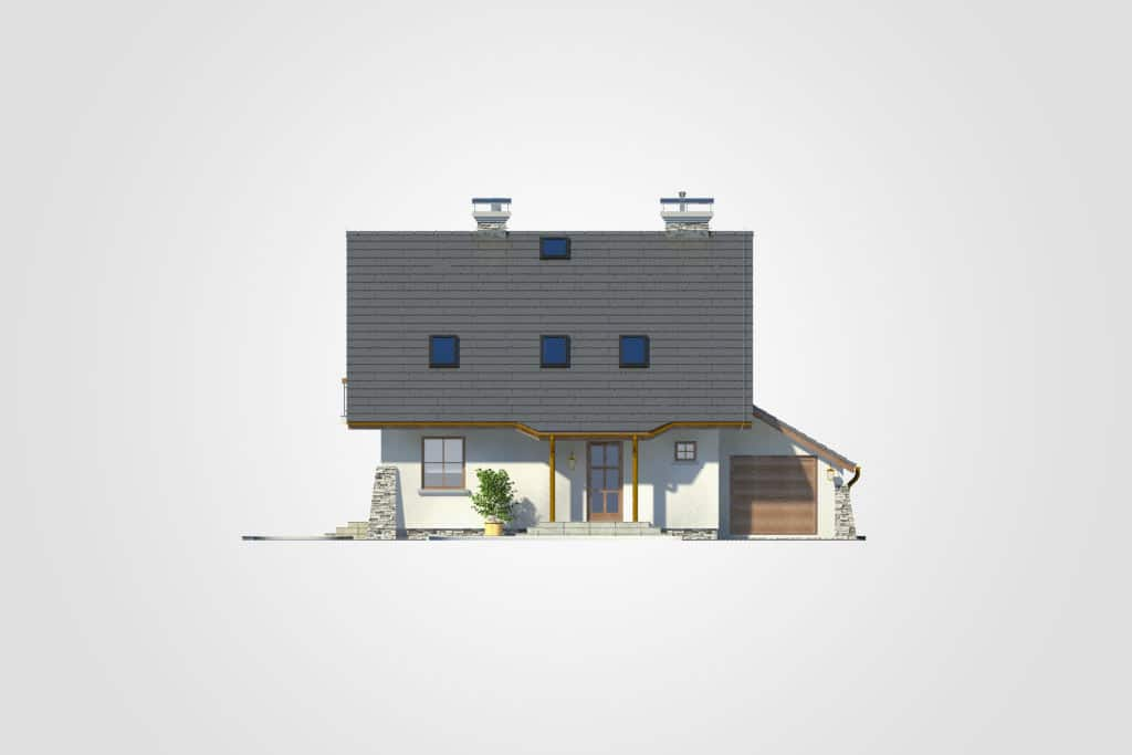 Фасад мансардного дома с гаражом, террасой и балконом «КМ-66» - спереди