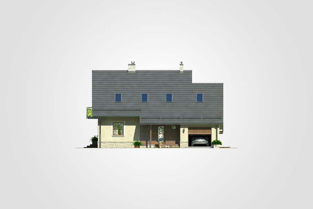 Фасад мансардного дома с гаражом, террасой и балконом «КМ-67» - спереди