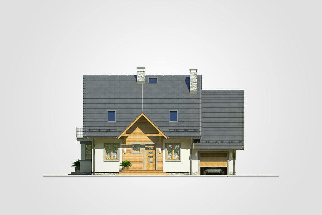 Фасад мансардного дома с гаражом, террасой и балконом «КМ-70» - спереди