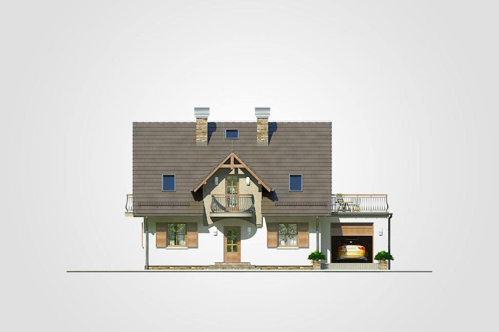 Фасад мансардного дома с гаражом, террасой и балконом «КМ-73» - спереди
