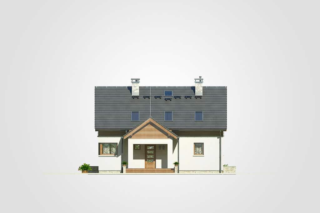 Фасад мансардного дома с террасой «КМ-74» - спереди