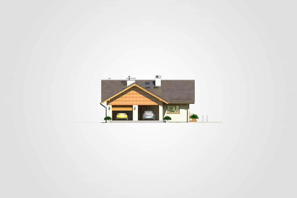 Фасад одноэтажного дома с гаражом и террасой «КО-104» - слева