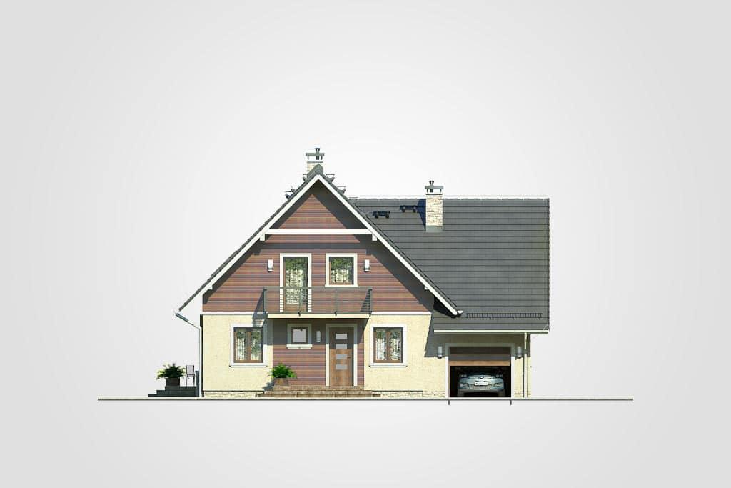 Фасад мансардного дома с гаражом, террасой и балконом «КМ-77» - спереди