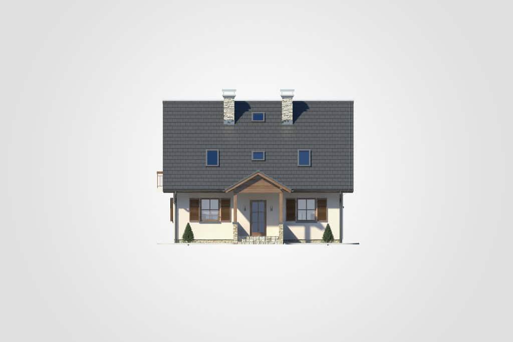 Фасад мансардного дома с гаражом, террасой и балконом «КМ-78» - спереди
