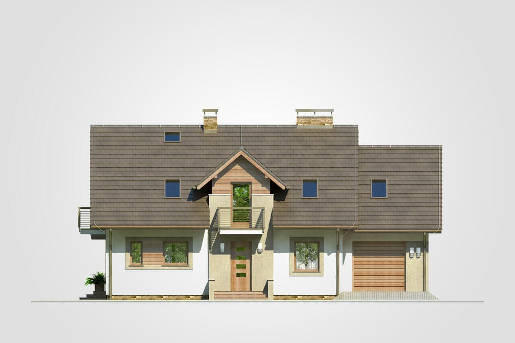 Фасад мансардного дома с гаражом, террасой и балконом «КМ-79» - спереди