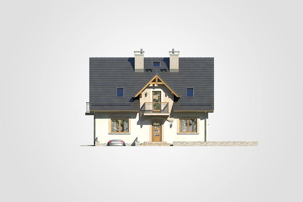 Фасад мансардного дома с гаражом, террасой и балконом «КМ-80» - спереди