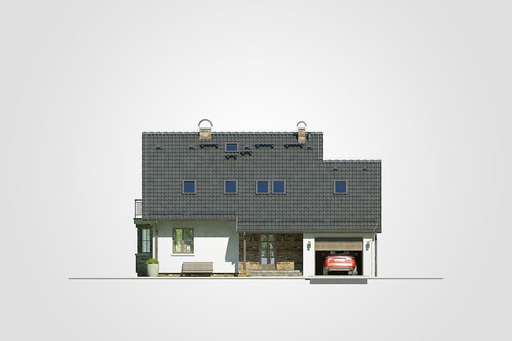 Фасад мансардного дома с гаражом, террасой и балконом «КМ-83» - спереди