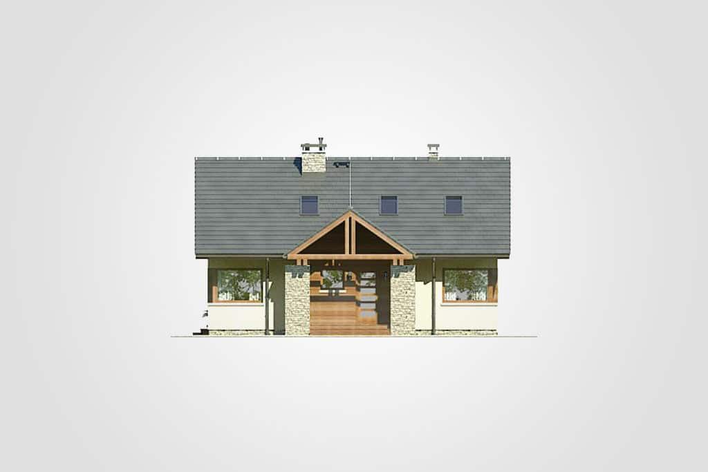 Фасад мансардного дома с террасой «КМ-84» - спереди
