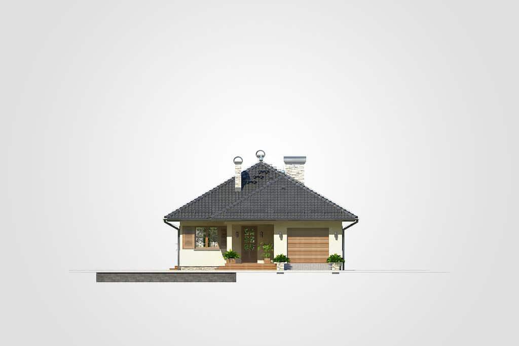Фасад одноэтажного дома с гаражом и террасой «КО-81» - справа