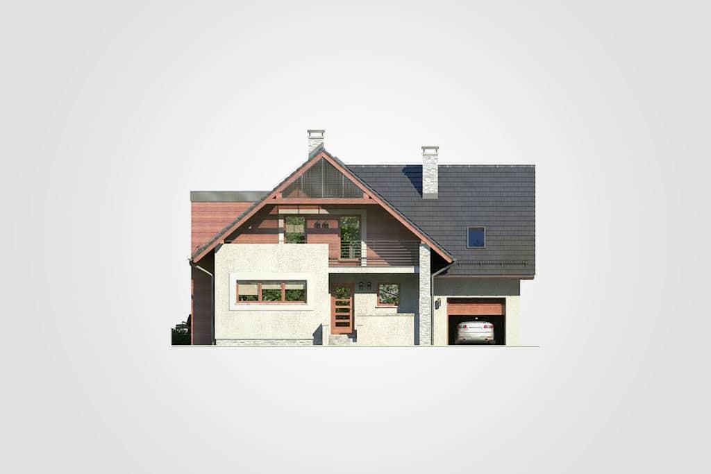 Фасад мансардного дома с гаражом, террасой и балконом «КМ-86» - спереди