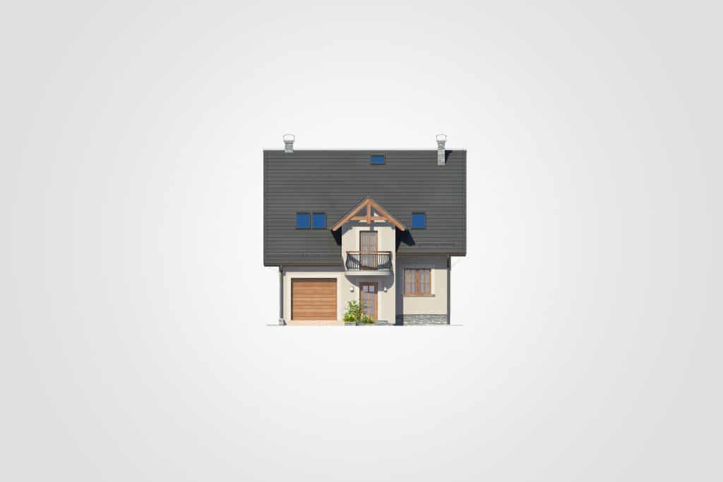 Фасад мансардного дома с гаражом, террасой и балконом «КМ-87» - спереди