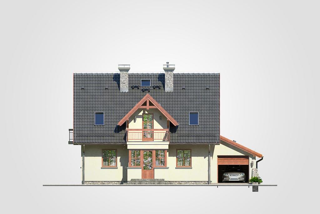 Фасад мансардного дома с гаражом, террасой и балконом «КМ-89» - спереди