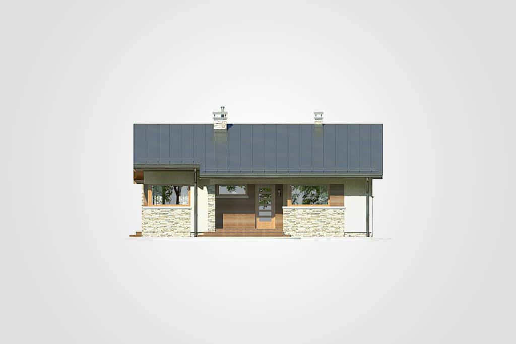 Фасад одноэтажного дома с террасой «КО-82» - спереди