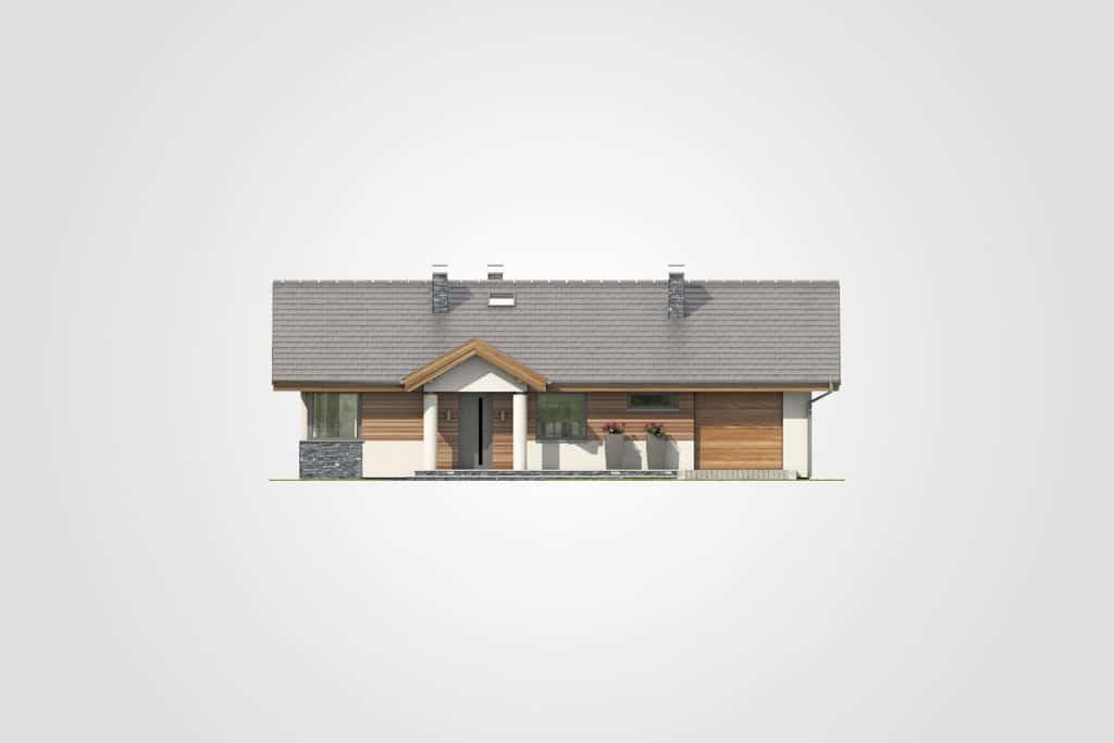 Фасад одноэтажного дома с гаражом и террасой «КО-83» - спереди