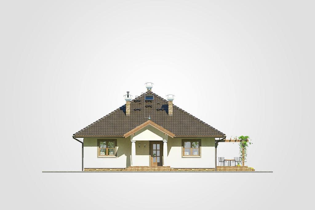 Фасад одноэтажного дома с террасой «КО-84» - спереди