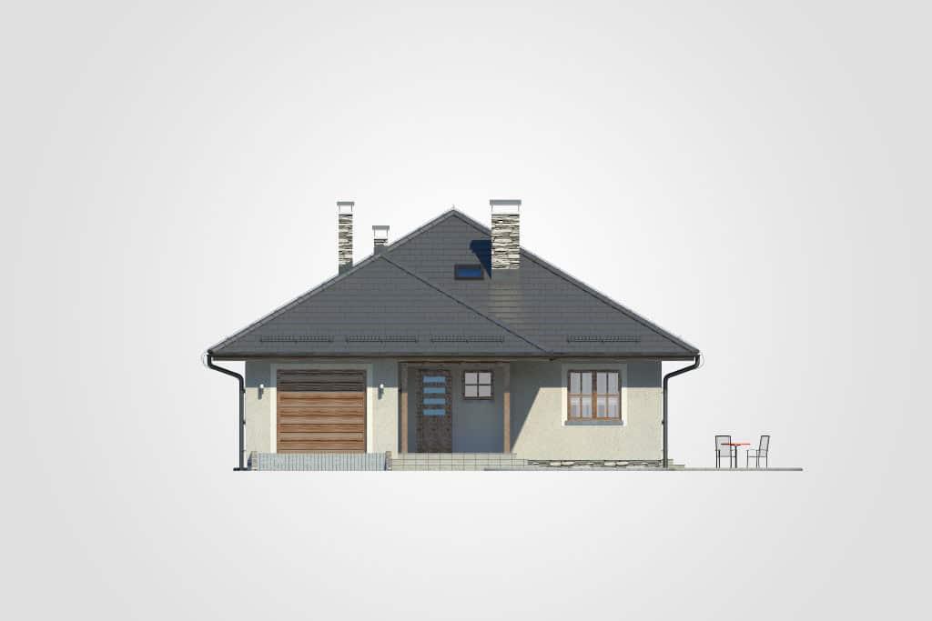 Фасад одноэтажного дома с гаражом и террасой «КО-75» - спереди