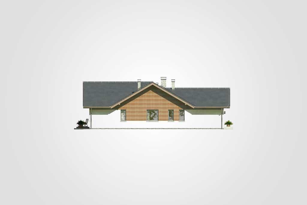 Фасад одноэтажного дома с террасой и гаражом «КО-76» - сзади