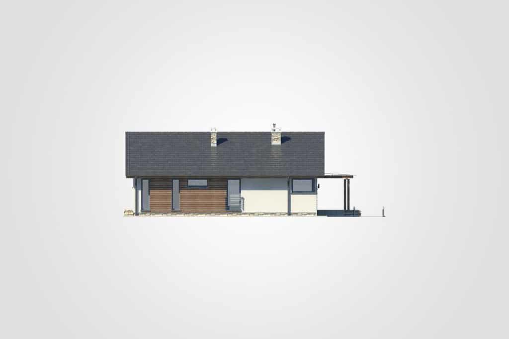 Фасад одноэтажного дома с террасой «КО-89» - спереди