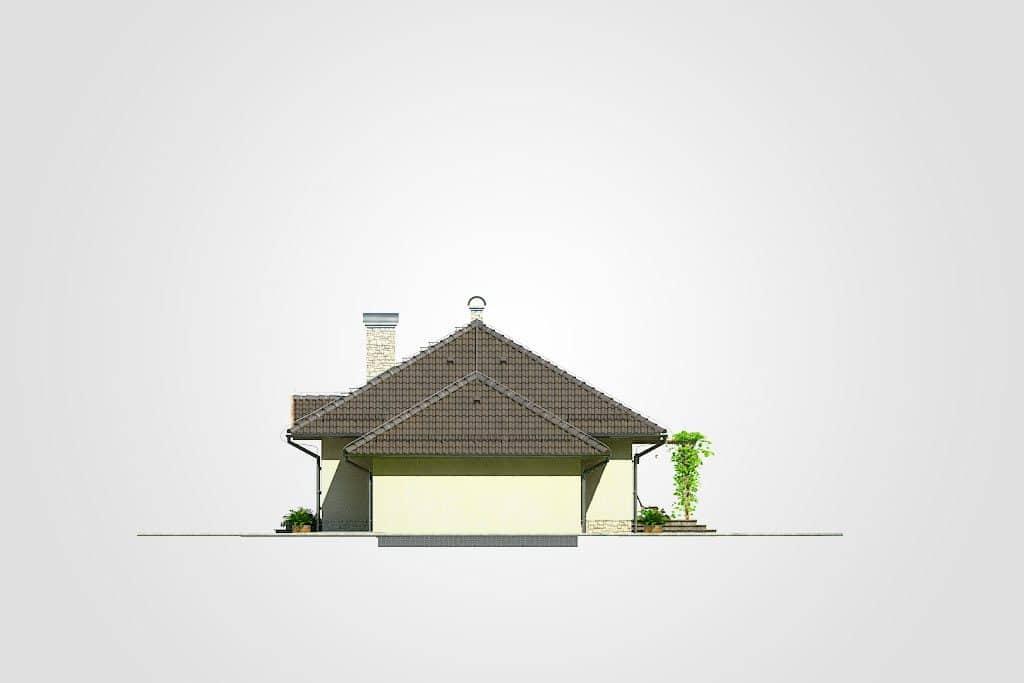 Фасад одноэтажного дома с гаражом и террасой «КО-90» - слева