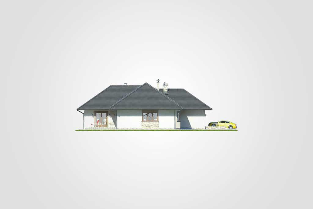Фасад одноэтажного дома с гаражом и верандой «КО-92» - слева