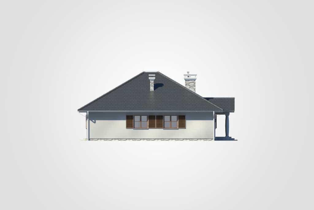 Фасад одноэтажного дома с террасой «КО-77» - слева