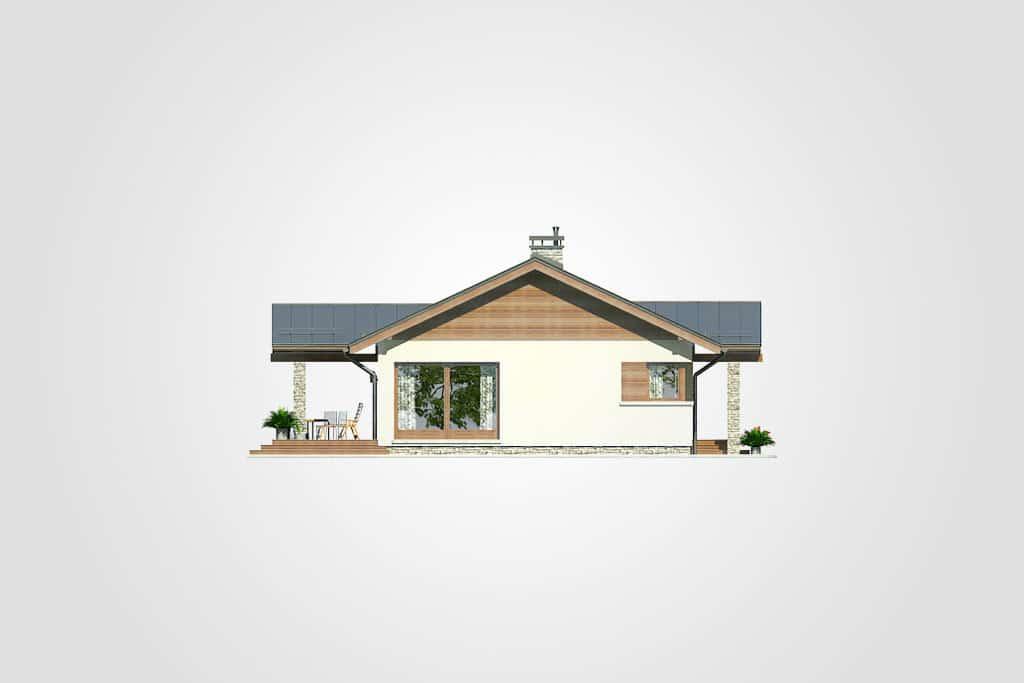 Фасад одноэтажного дома с террасой «КО-98» - слева