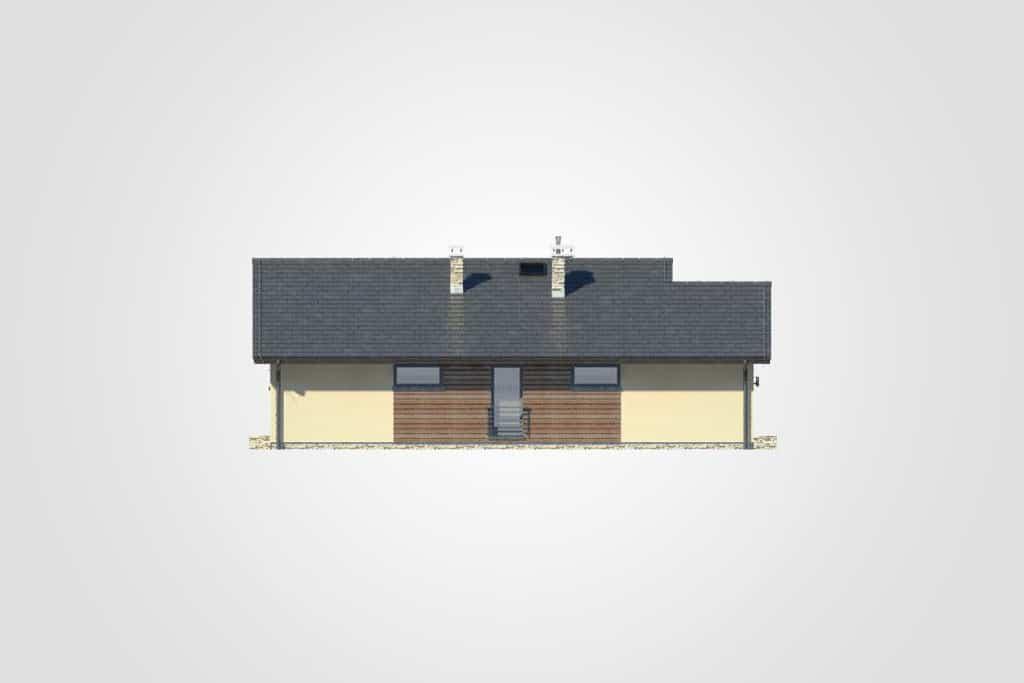 Фасад одноэтажного дома с гаражом и террасой «КО-103» - сзади