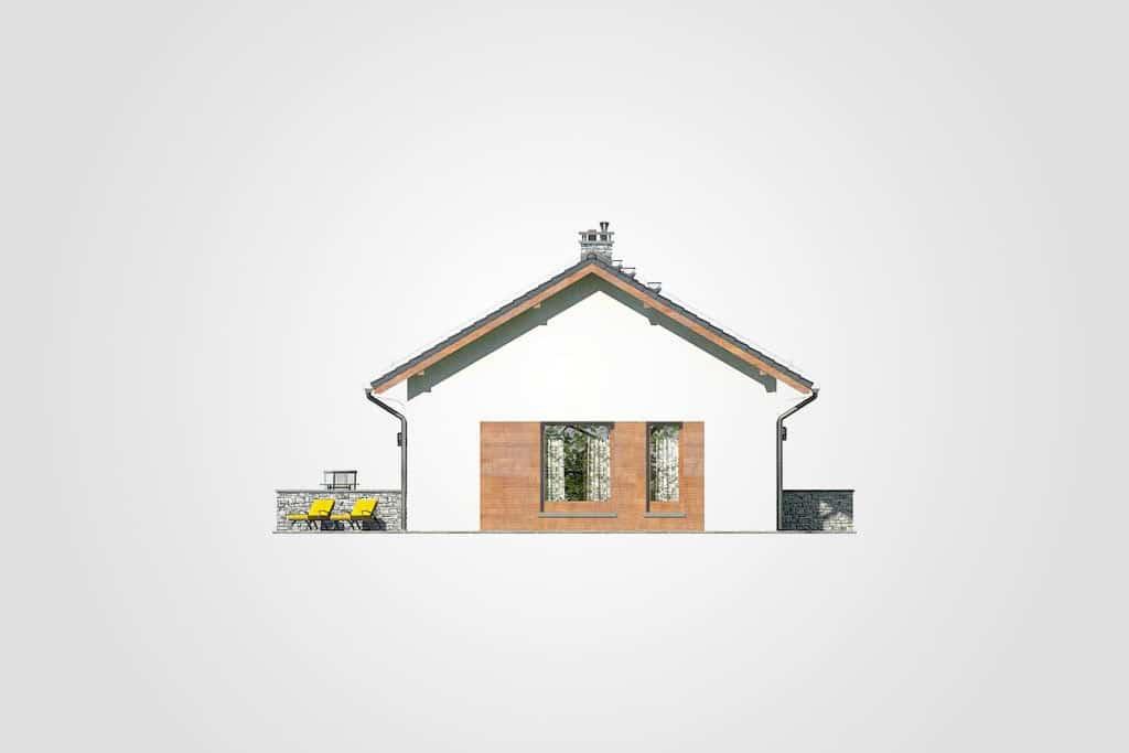 Фасад одноэтажного дома с террасой «КО-109» - слева