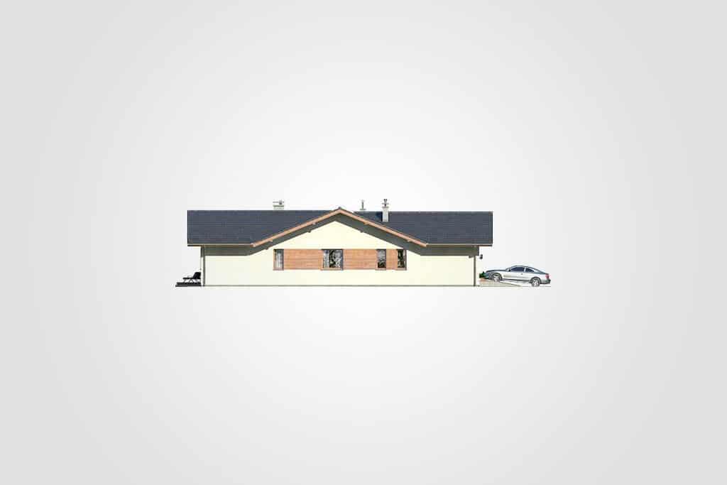 Фасад одноэтажного дома с гаражом и террасой «КО-110» - сзади