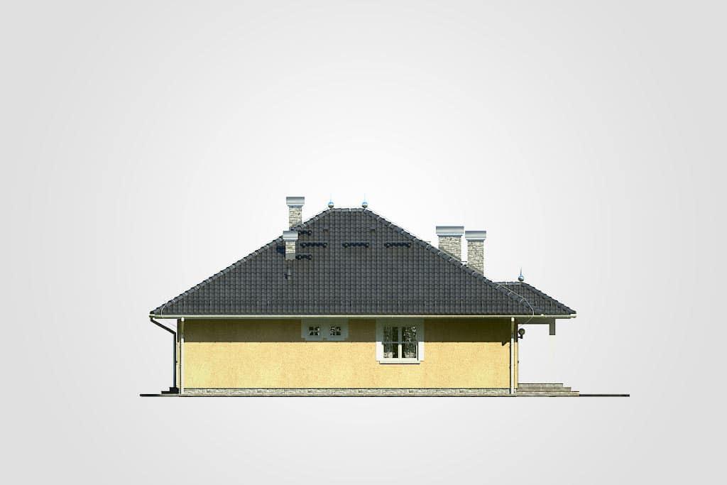 Фасад одноэтажного дома с террасой «КО-111» - слева