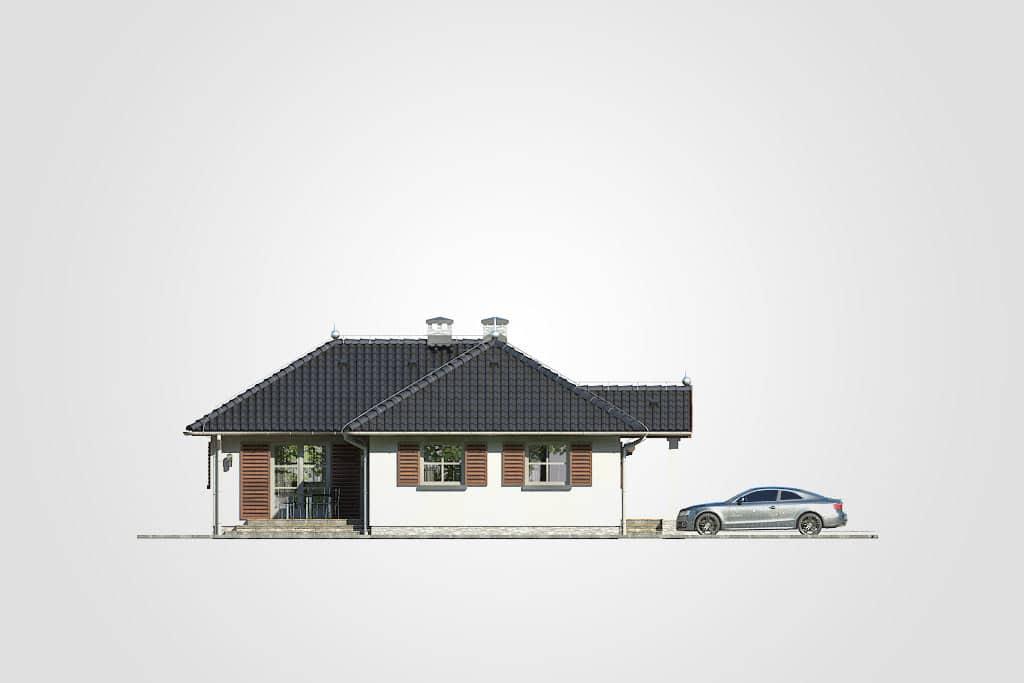 Фасад одноэтажного дома с террасой «КО-114» - слева