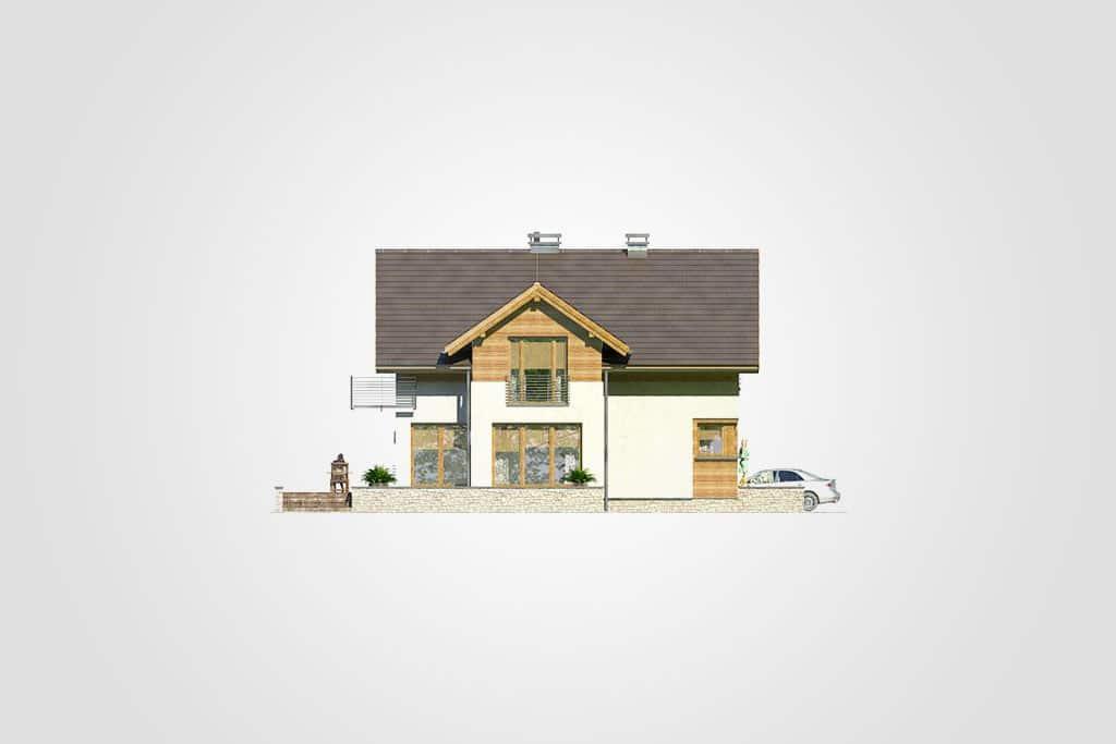 Фасад мансардного дома с гаражом, террасой «КМ-65» слева