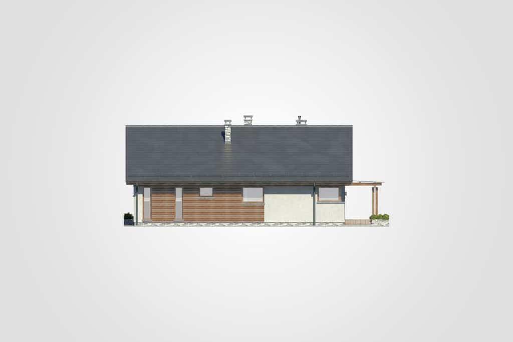Фасад одноэтажного дома с террасой «КО-79» - спереди
