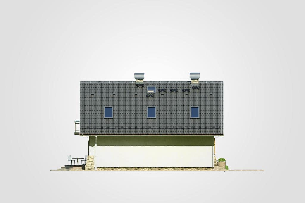 Фасад мансардного дома с террасой и балконом «КМ-69» - слева