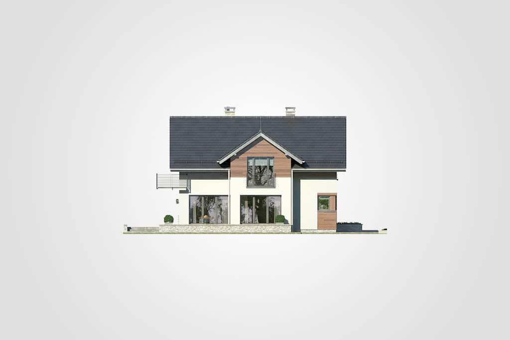 Фасад мансардного дома с гаражом, террасой и балконом «КМ-72» - слева