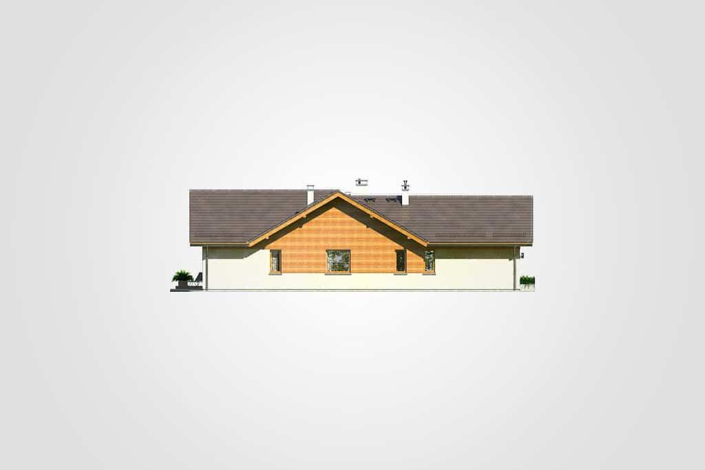 Фасад одноэтажного дома с гаражом и террасой «КО-104» - сзади