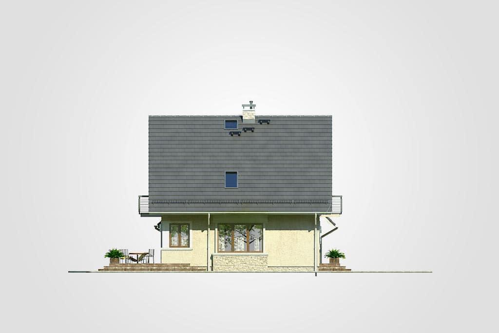 Фасад мансардного дома с гаражом, террасой и балконом «КМ-77» - слева