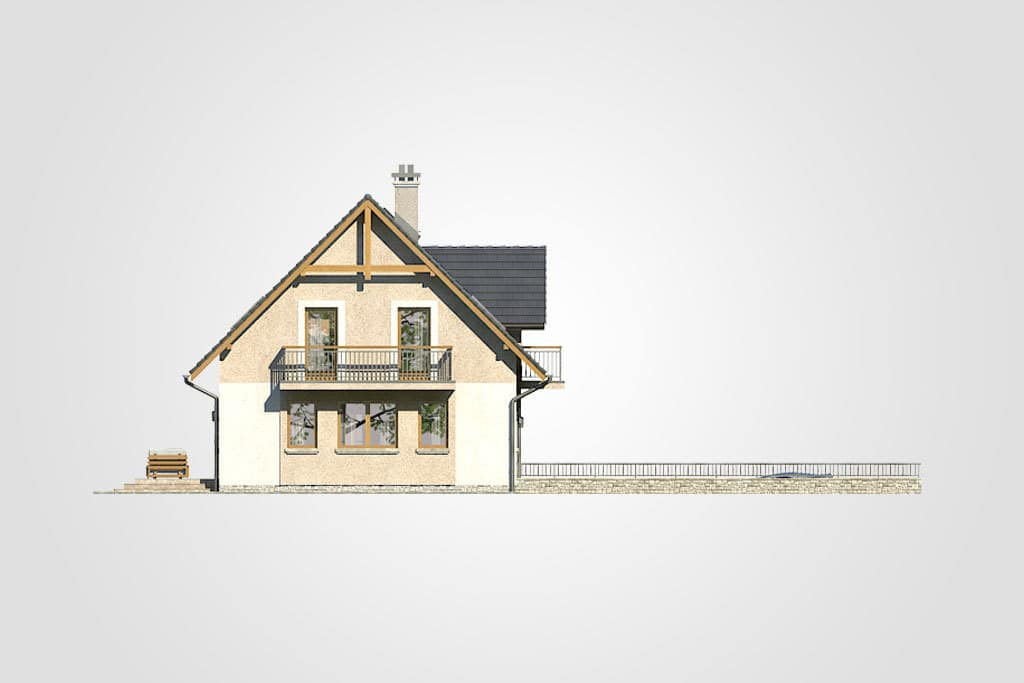 Фасад мансардного дома с гаражом, террасой и балконом «КМ-80» - слева