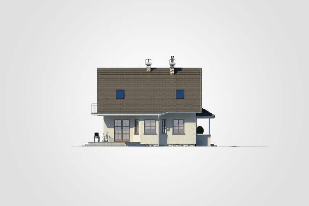 Фасад мансардного дома с гаражом, террасой и балконом «КМ-81» - слева