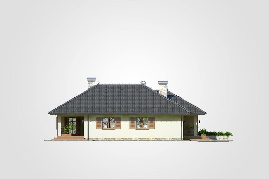 Фасад одноэтажного дома с гаражом и террасой «КО-81» - сзади