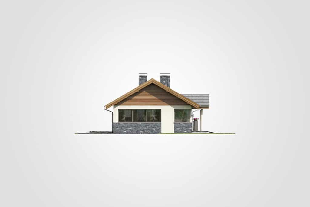 Фасад одноэтажного дома с гаражом и террасой «КО-83» - слева
