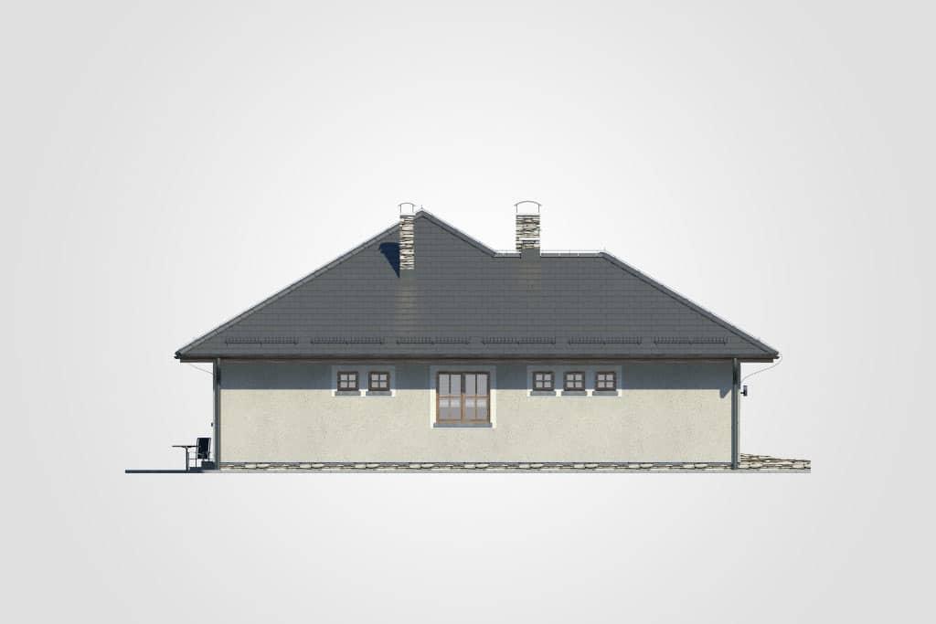 Фасад одноэтажного дома с гаражом и террасой «КО-75» - слева